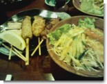串ものとサラダ